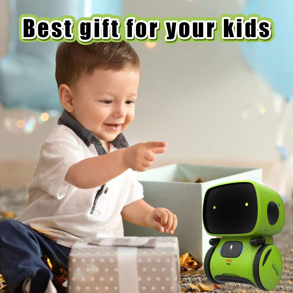 Gilobaby Kids Robot Toy, Talking Interactive Voice Controlled Touch Sensor Smart Robotics with Singing, Dancing, Repeating, Speech Recognition and Voice Recording, Gift for Kids Age 3+ (Green) by GILOBABY (Image #7)