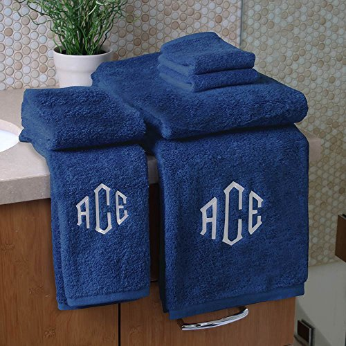 Personalized Monogrammed Decorative Bath Linens for Home, Office, and Gifts, with Decorative Frame.. Hotel Collection 100% USA Made 6-Piece Set - Marine Blue - 2-Bath, 2-Hand & 2-Wash Towels by 1888 Mills (Image #7)