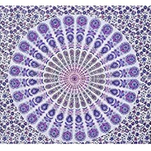 Purple peacock Indian Hippy Tapestries,bed sheets ,bed spread,hippy bed sheets,wall hangings,ethnic decor,home decor bed sheets,throw,picknic blankets,dorm tapestries By Montreal Tappesier