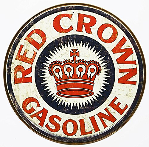 Sign Distressed (Red Crown Gas Distressed Round Tin Sign 12 x 12in)