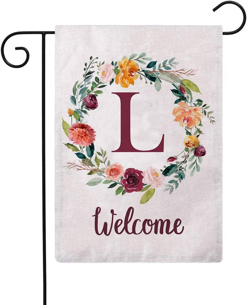 ULOVE LOVE YOURSELF Letter L Garden Flag with Flowers Wreath Double Sided Print Welcome Garden Flags Outdoor House Yard Flags 12.5 x 18 Inch