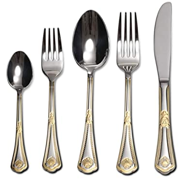 Venezia Collection  Seashell  Flatware Set 20-Piece Service for 4, 18/10 Stainless Steel Silverware Cutlery, 24K Gold Plated Trim