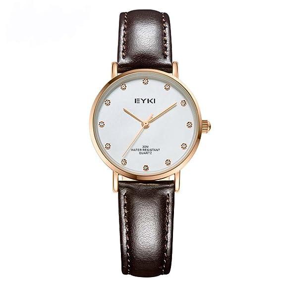 Eyki Mujer Reloj relojes de cuarzo correa de piel reloj Casual reloj Retro color: oro