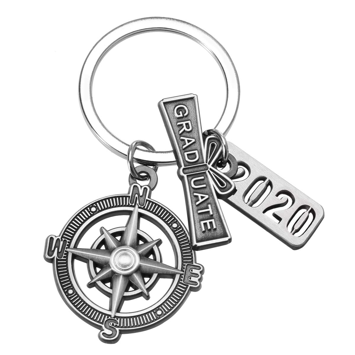 "Graduation Keychain with Scroll,""2020"" Charm and Compass - 2020 Graduation Gifts for Him"
