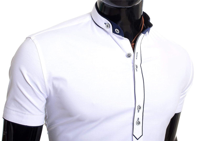 Hombre Camisa de Manga Corta Casual Elegante El/ástico Collar Nao Algod/ón Slim