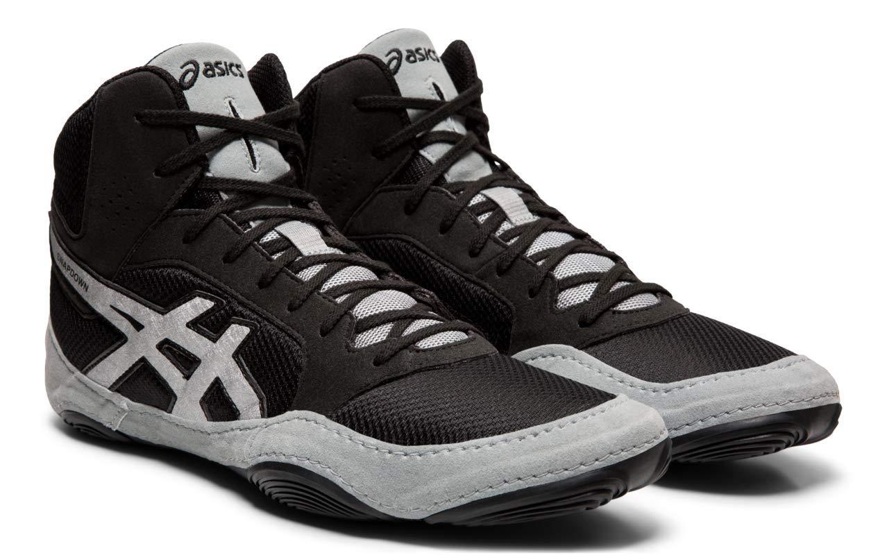 ASICS Unisex Snapdown 2 Wrestling Shoes, Black/Silver, 5 M US