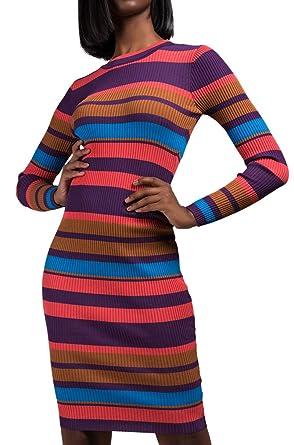 6b2a4c211d1 AKIRA Women s Girly Stripes Thick Ribbed High Neck Long Sleeve Career  Casual Midi Dress-Purple