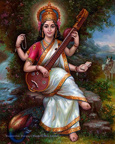 Supreme Swan Saraswati Art Print - Available in Several Sizes