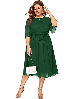 Amazon.com: SheIn vestido de mujer con mangas elásticas y ...