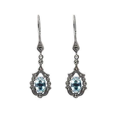 1f9b84d43 Esse Marcasite Sterling Silver Vintage Art Nouveau Blue Topaz and Marcasite  Drop Earrings: Amazon.co.uk: Jewellery