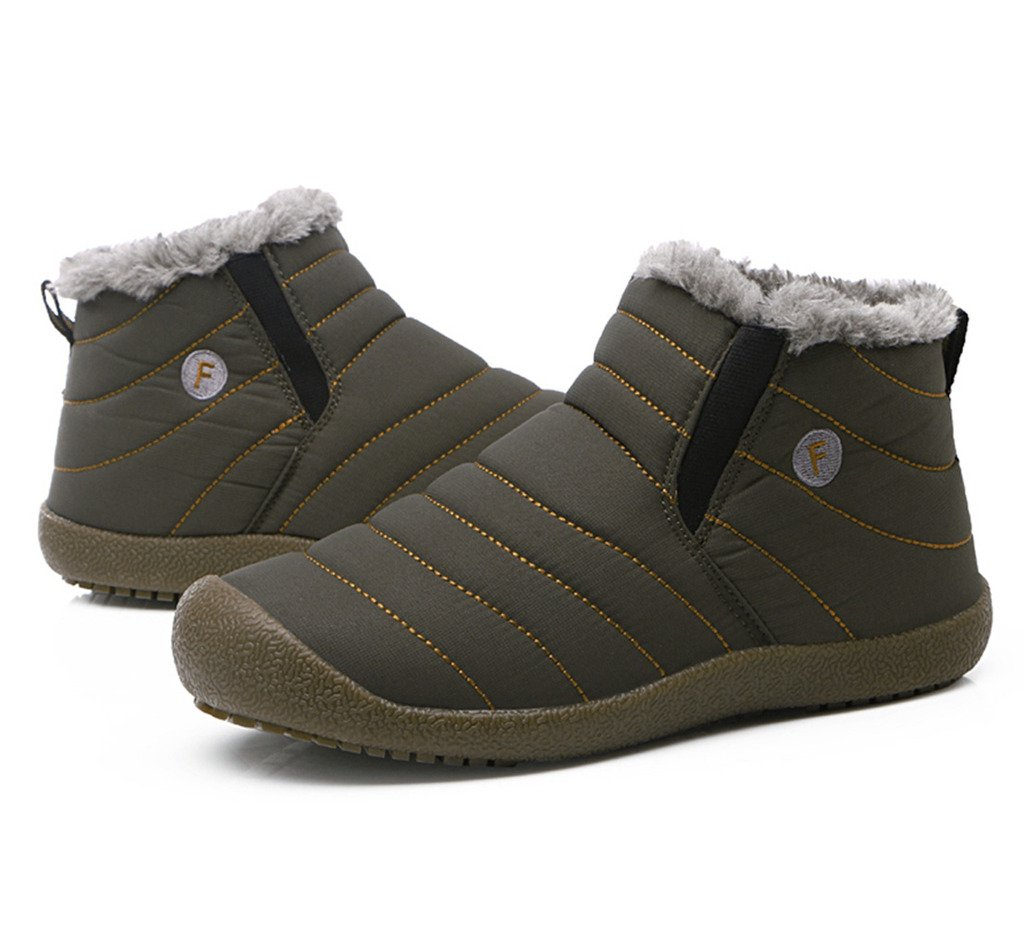 JACKSHIBO Mens Womens Slip On Winter Boots Fur Lined Outdoor Anti-Slip Snow Boots B01M8N19J7 Women 7.5(M)B US/Men 7(M)B US|Grey-high Top
