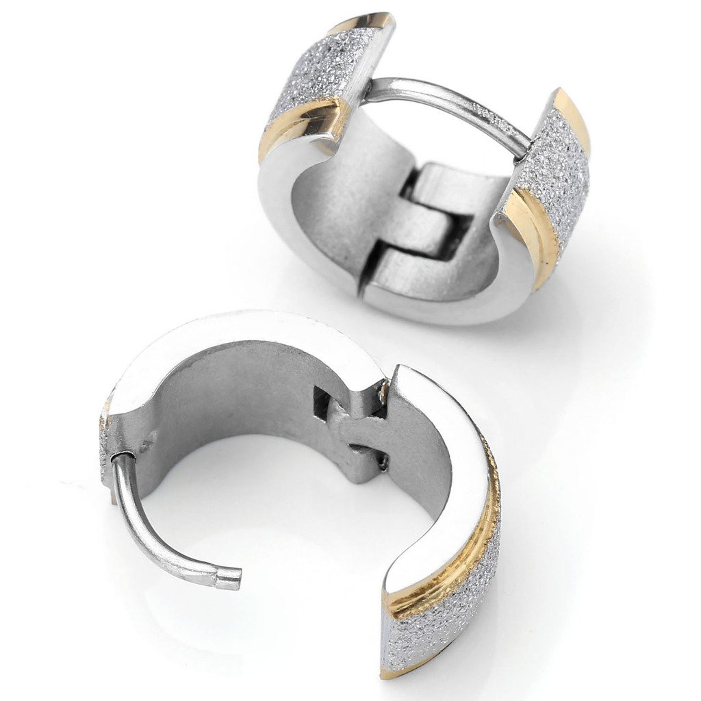 PiercingJ 2pcs 18G 7MM Silver Stainless Steel Golden Edge Hoop Hinged Huggie Stud Earring