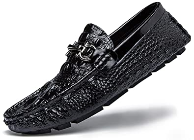 Go Tour Men's Driving Shoes 3D Embossed Leather Casual Slip-on Loafers  Shoes with D Metal Buckle