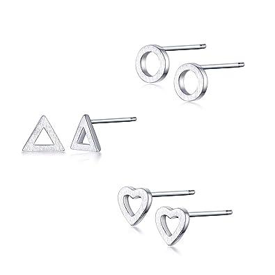 82d7cc2b9 GULICX Pack of 3 Paris 925 Sterling Silver Stud Earrings Set Heart Triange  Round Shape 5MM Small Jewellery Set: Amazon.co.uk: Jewellery