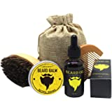 Men Beard Care Kit Mustache Grooming Trimming Set - Beard Brush + Beard Comb + Natural Beard Oil + Natural Beard Balm - Perfect Gift Kit (oil+balm+brush+comb)