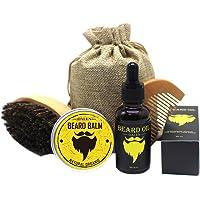 Kit de Soins de Barbe Luckyfine - Entretien de Barbe - Huile à Barbe naturel 30ml + Baume Barbe naturel 30ml + Peigne à barbe + brosse à barbe + Sac de voyage