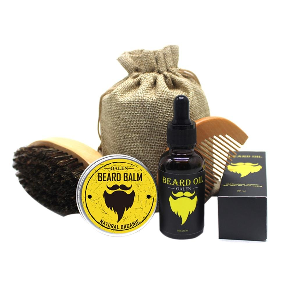 Beard Grooming Kit for Men , NiceEshop(TM) - Boar Bristle Brush, Wooden Comb, Unscented Beard Oil, Mustache & Beard Balm Butter Wax Leave-in Conditioner, Natural Ingredients, for Styling, Shaping & Growth Gift Set