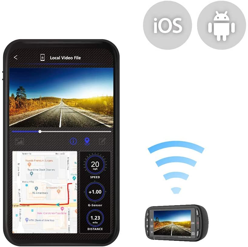 Kenwood DRV-A301W HD dash cam with 2.7 Display Built-in GPS Parking Mode Recording Wireless Link
