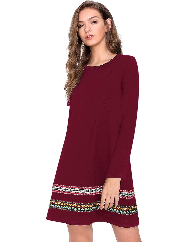 202a2d8537 Romwe Women s Loose Short Sleeve Shirt Casual Tunic Dress Swing T-Shirt  Dress