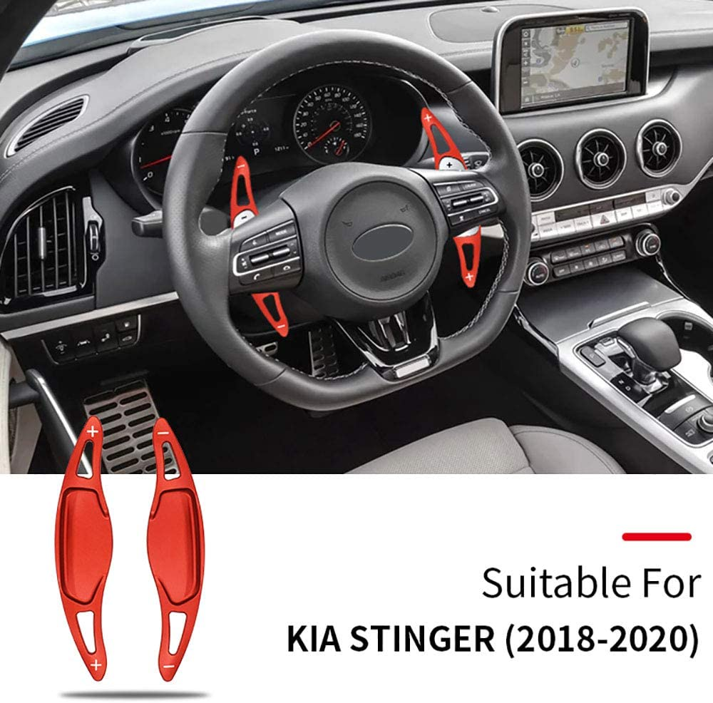 ontto for Kia Steering Wheel Shift Paddle Extension Aluminium Alloy Interior Trim Cover Fit for Stinger 2018-2020 black