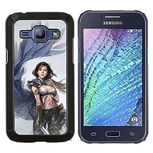 YiPhone /// Prima de resorte delgada de la cubierta del caso de Shell Armor - Alas Mujer ángel Venganza Arte Espada - Samsung Galaxy J1 J100