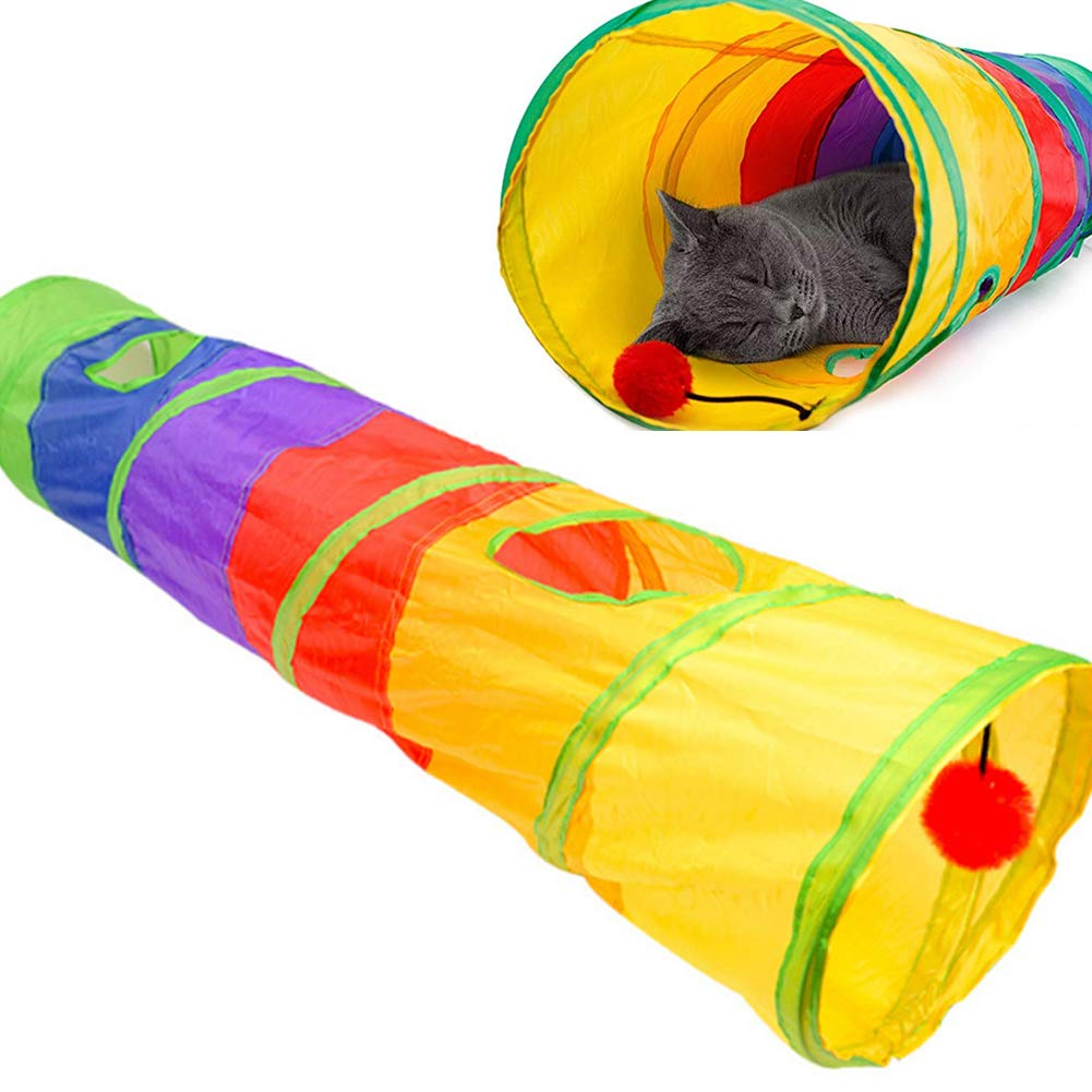 Cat Tunnel Pet Tube Collapsible Play Toy Indoor Outdoor Kitty Toys with Fun Ball and 2 Peek Hole for Puzzle Exercising Hiding Training and Running by PJDDP
