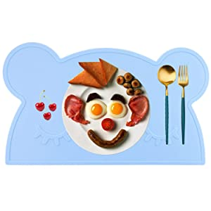 M MOACC Kids Placemat Xmas Gift, Non-Slip Silicone Cute Placemats for Kids, Washable Dining Table Food Mat for Children Baby Toddler (Bear,Light Blue)
