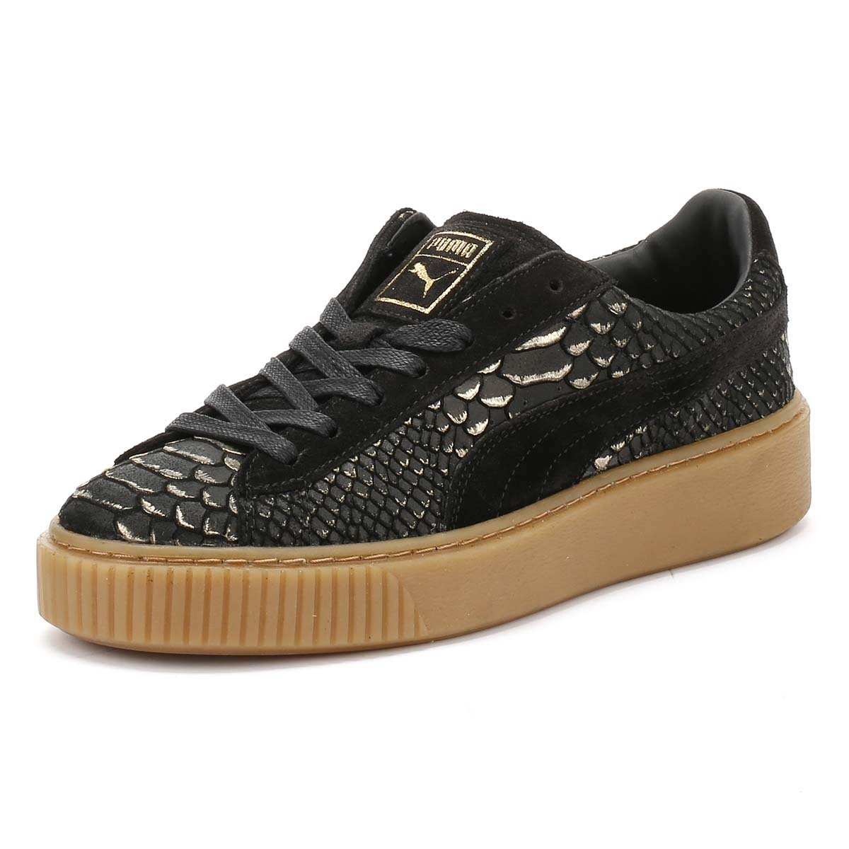 dfcff0d773b02a Puma Womens Black Gold Basket Exotic Skin Platform Trainers  Amazon.co.uk   Shoes   Bags