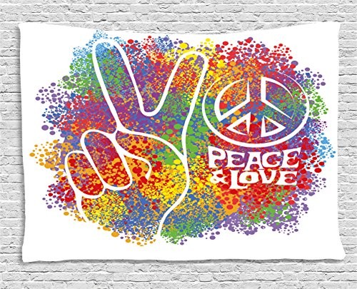 Pictures Peace Symbols - Ambesonne 70s Party Tapestry, Hippie Peace and Love Symbol and Signs Two Fingers Pacifist Colorful Design Art, Wall Hanging for Bedroom Living Room Dorm, 80 W X 60 L inches, Multicolor