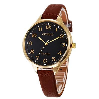Amazon.com: Women Quartz Analog Wrist Watch Faux Leather ...