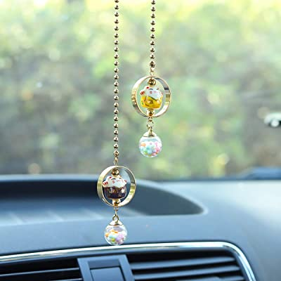 Lucky Cat Car Charm pendant Rear View Mirror Pendant Porcelain Figurine Hanging Pendant Car Accassories (Purple & Yellow): Automotive