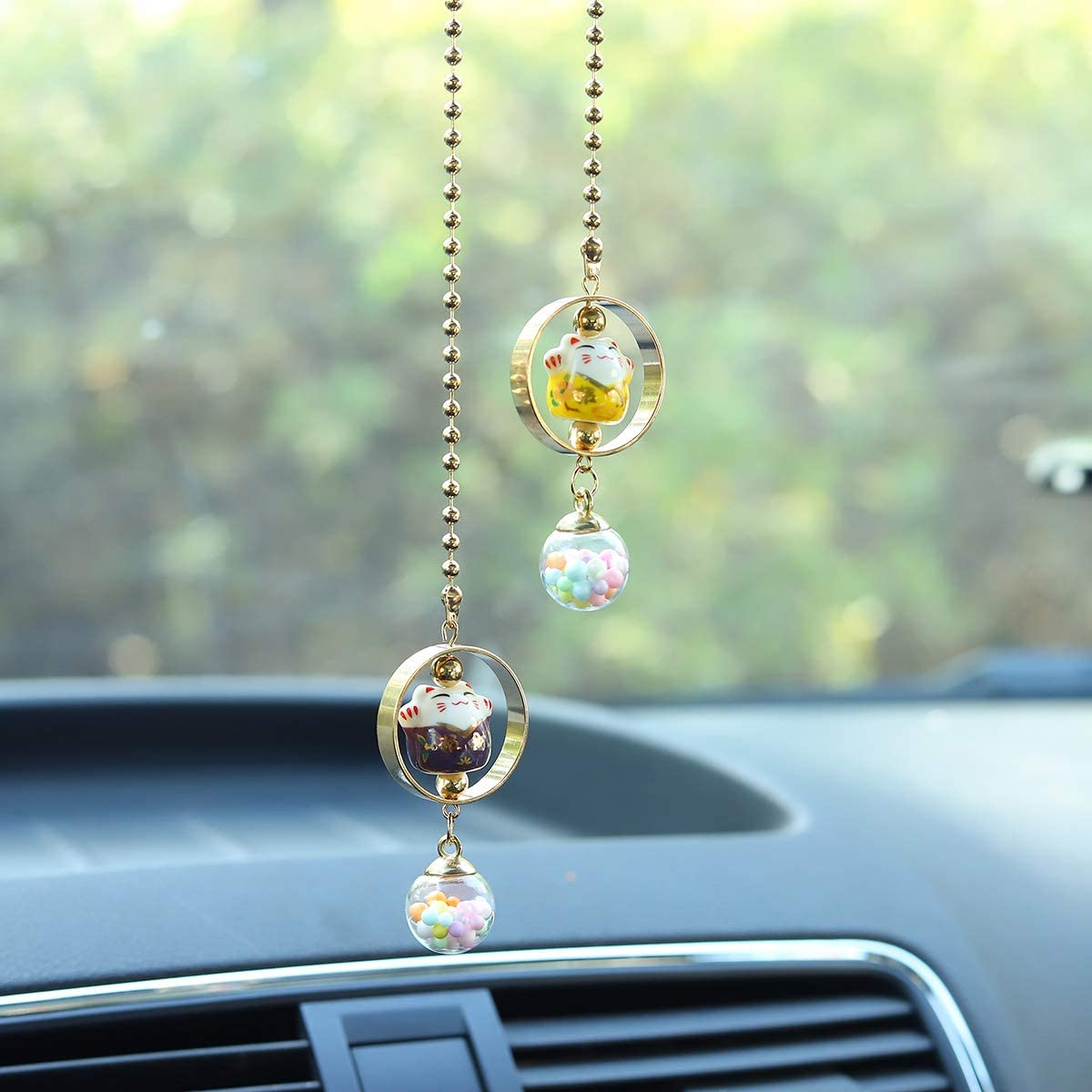 Lucky Cat Car Charm pendant Rear View Mirror Pendant Porcelain Figurine Hanging Pendant Car Accassories Purple /& Yellow