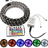 Grandview 16.4FT/5M 5050 Neon Waterproof 300 LED RGB Strip Waterproof Light Color Changing RGB Flexible lamp + 24 Key Remote