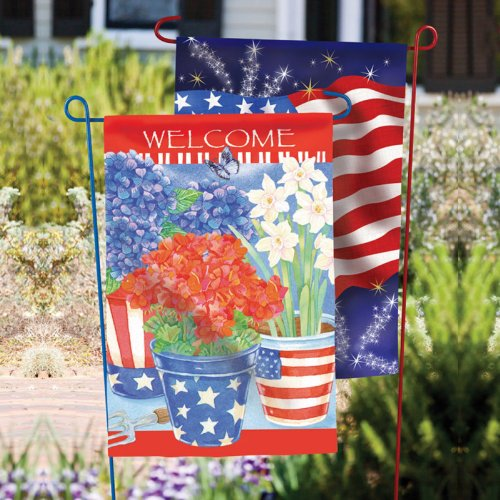 Evergreen Garden Flag Stand, 2 Assorted Colors, Patriotic