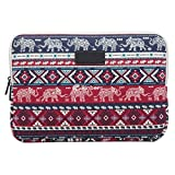 Rinbers 15 inch Bohemian Style Canvas Fabric Elephant Style Zipper Laptop Sleeve Carry Case Cover Bag for MacBook Pro 15 Samsung HP Dell Asus Lenovo Acer Sony, ect. 15.4 15.6 Inch Notebooks - Red