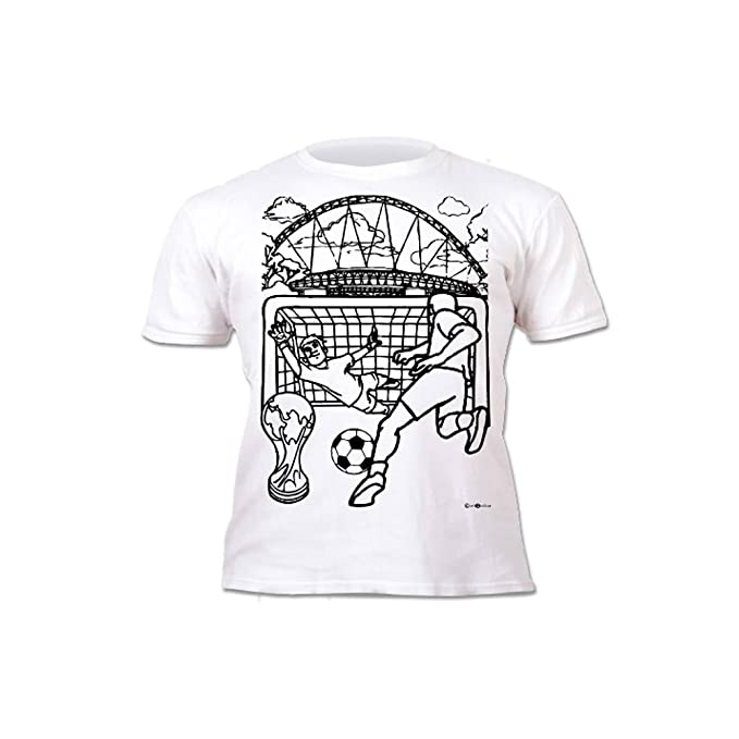 Splat Planet Camiseta FÚTBOL para niños. con impresión para Pintar y Colorear. Incluye 6