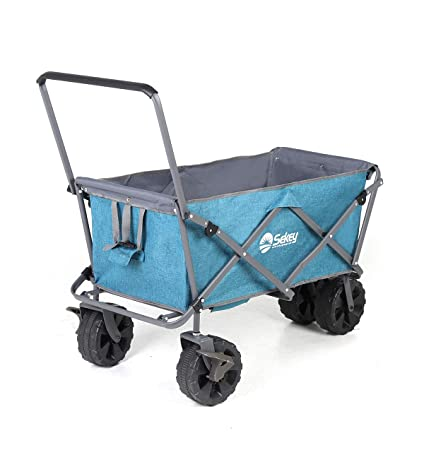 Amazon.com   Sekey Folding Beach Wagon with Brakes Collapsible Wagon Cart  Heavy Duty Utility Wagon All Terrain 147210c32