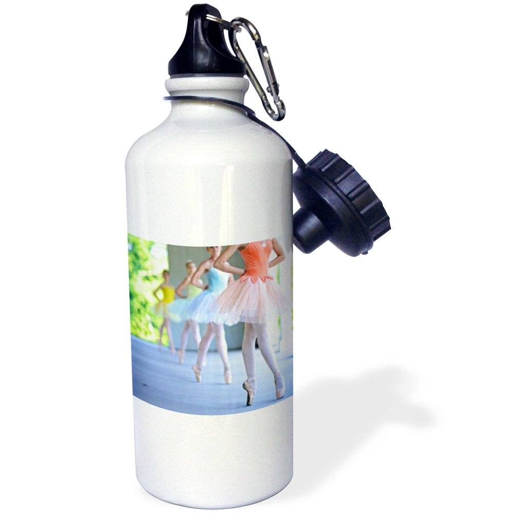 3dRose wb_218960_1 Ballerinas With Colorful Tutus Create A Rainbow Of Dance Sports Water Bottle, 21Oz, Multicolored
