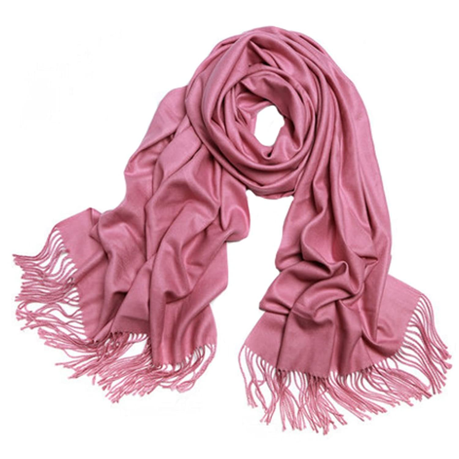 Ladies Elegant Scarf Comfortable Scarves Shawl Wrap Solid Color, Rubber red