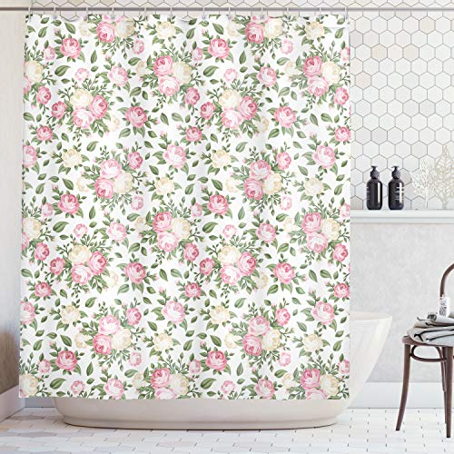 Ambesonne House Decor Collection, Roses Rosebuds Leaves Bouquet Flower Arrangements Bridal Victorian Style, Polyester Fabric Bathroom Shower Curtain, 75 Inches Long, Pink Green Ivory White ()