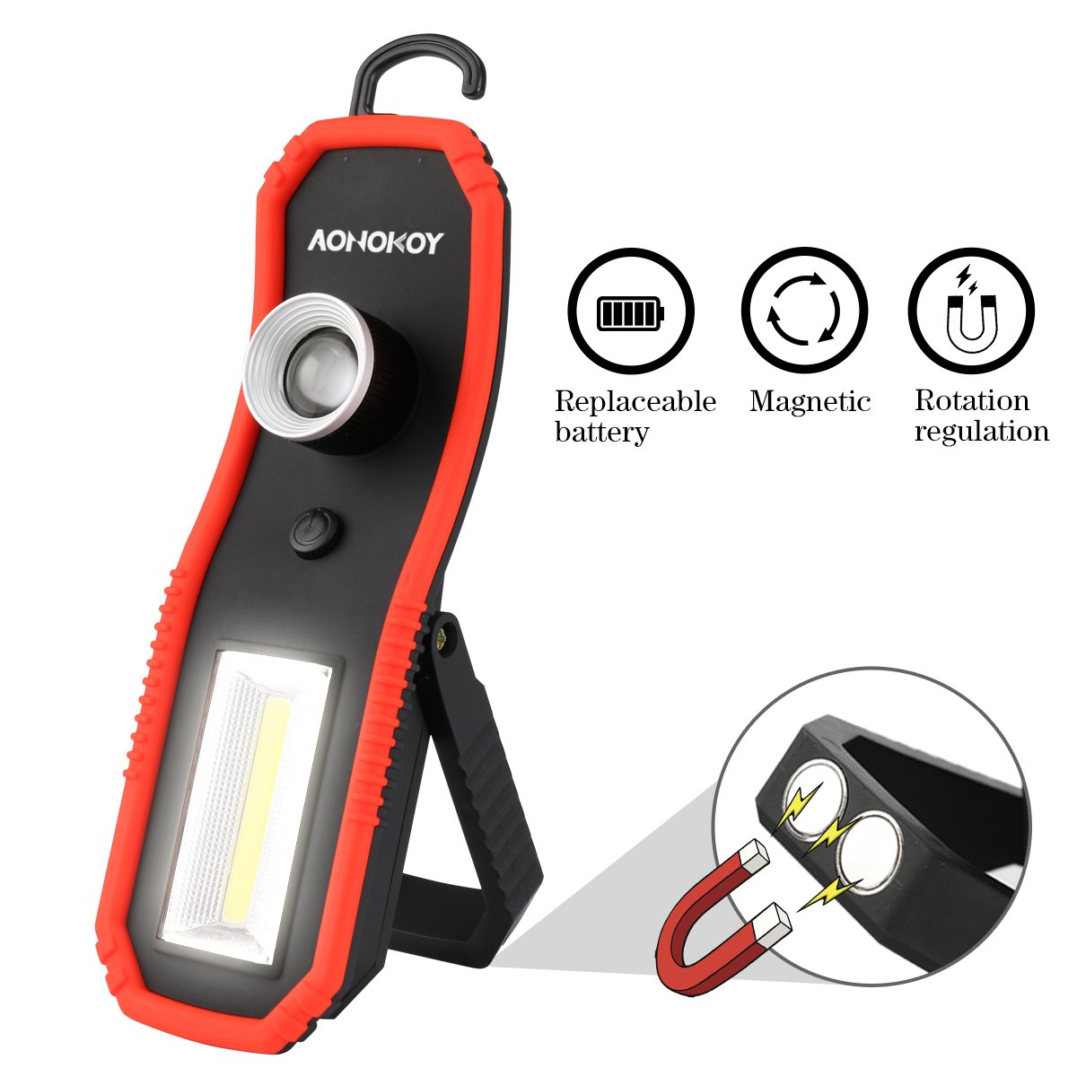 Portable LED Work Lights,Focus Function Multi-use 100LM XPE LED and 200LM COB,Waterproof Magnetic Base & Hanging Hook for Outdoor,Car Repairing, Blackout,Emergency,Travel and Indoor by AONOKOY