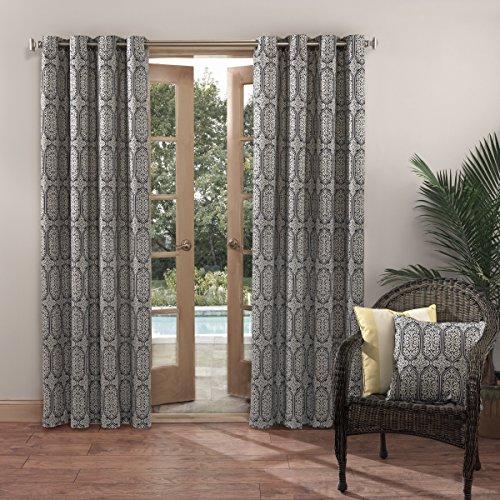 Sun Zero Antigua Indoor Outdoor UPF 50+ Curtain Panel, 52″ x 84″, Indigo Blue