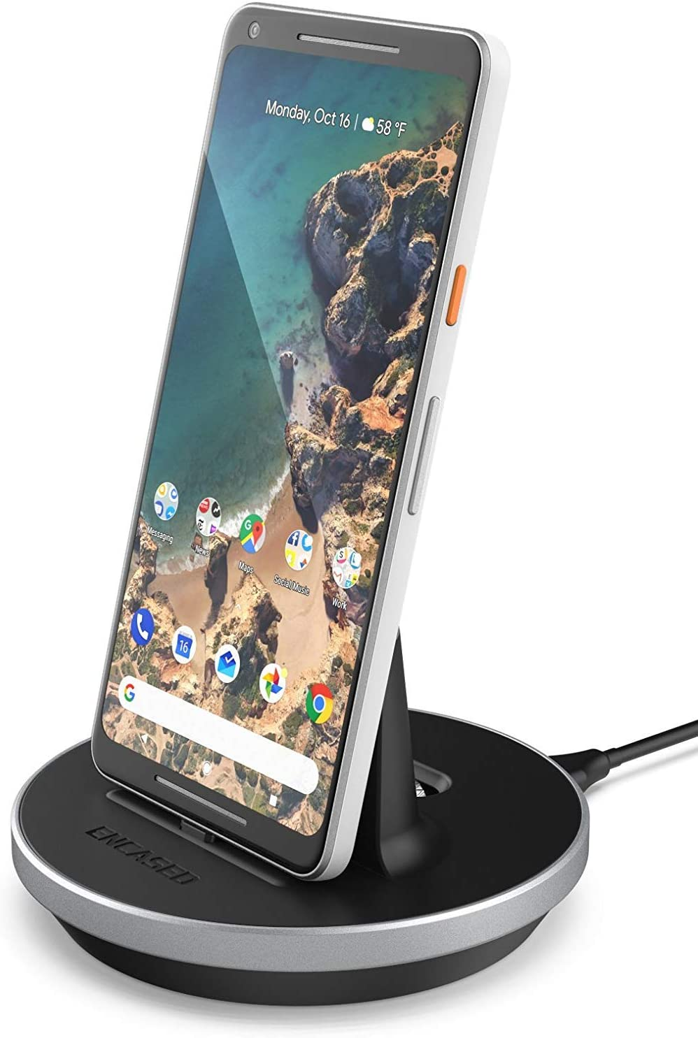 Encased Google Pixel 3a / Pixel 3a XL Charger Stand (USB Type C) Desktop Charging Dock (Heights Adjustable Station Mount) Black