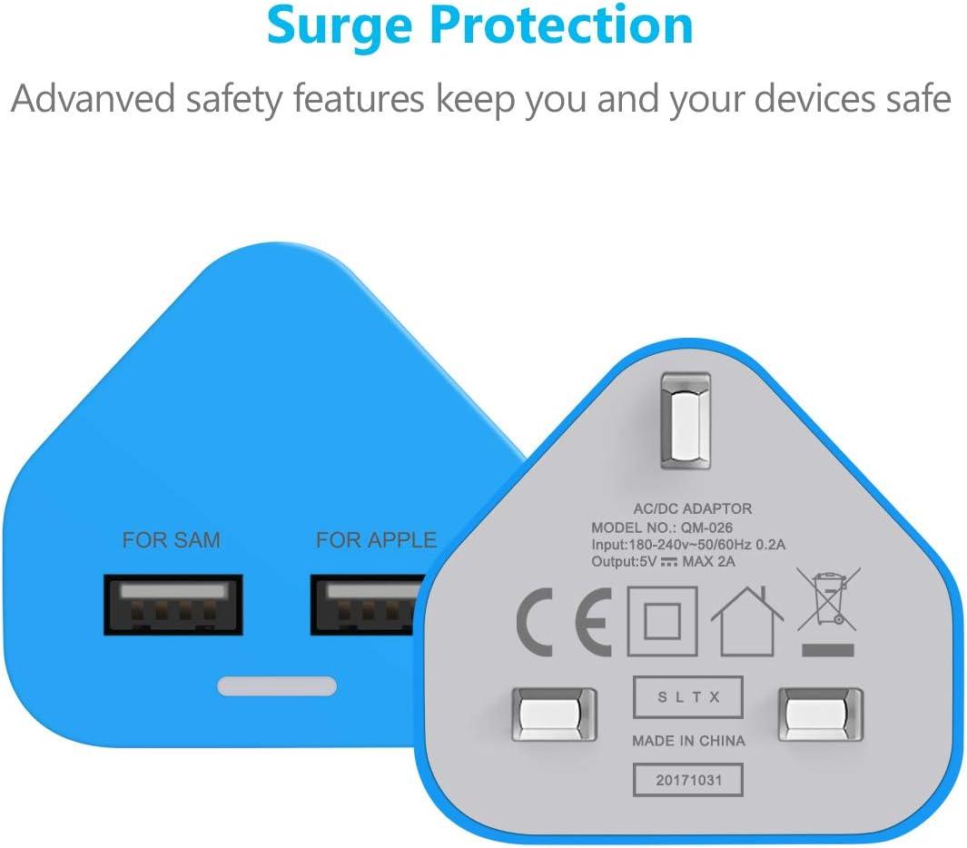 usb plug UK/3/Pin/Plug/USB/Mains/Charger/Adapter,/Dual/2AMP/2000mAh/Fast/Speed/Universal/Travel/USB/Wall/Charger / blue