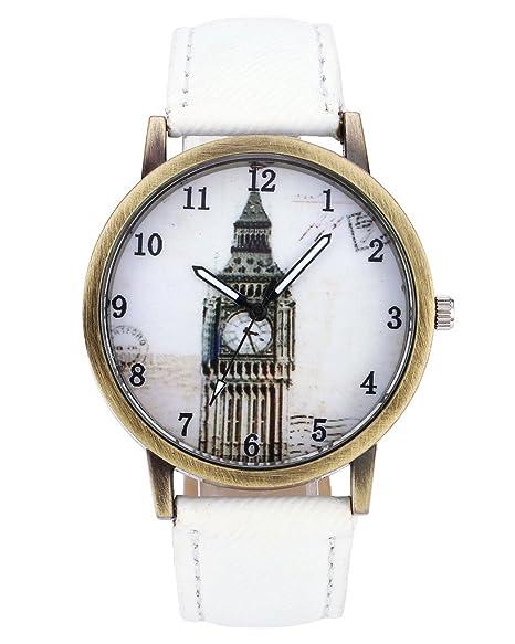 jsdde Relojes, Vintage London Big Ben Reloj de pulsera Bronce Carcasa Mujer Relojes Denim de tejido de piel de banda analógico de cuarzo de reloj, ...
