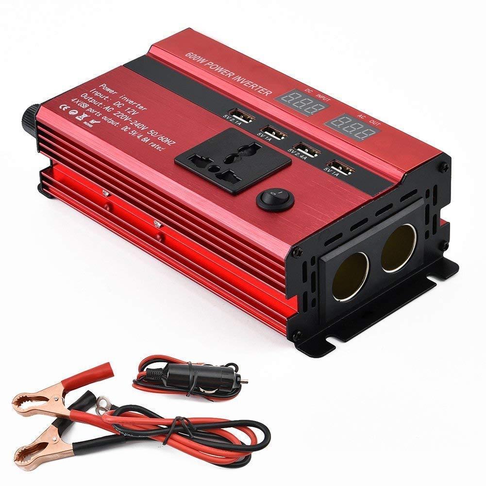 Convertisseur Ondulateur 600W 12V 220V /à 240V Power Inverter Transformateur de Tension De Voiture avec 4.2A Double USB Et 1 Sorties AC pour Smartphones N/ébuliseur Ordinateur Portable Tablette