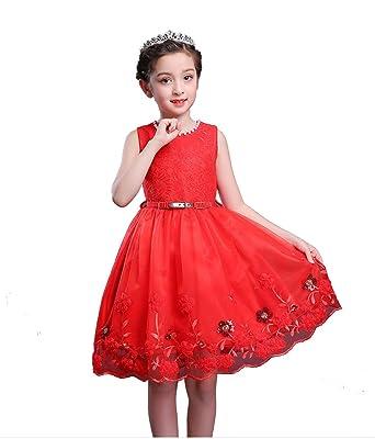 92a35f6f849c4b Girl Sleeveless Dress Red Toddler Kids 3T Flower Princess Swing Summer  Dresses