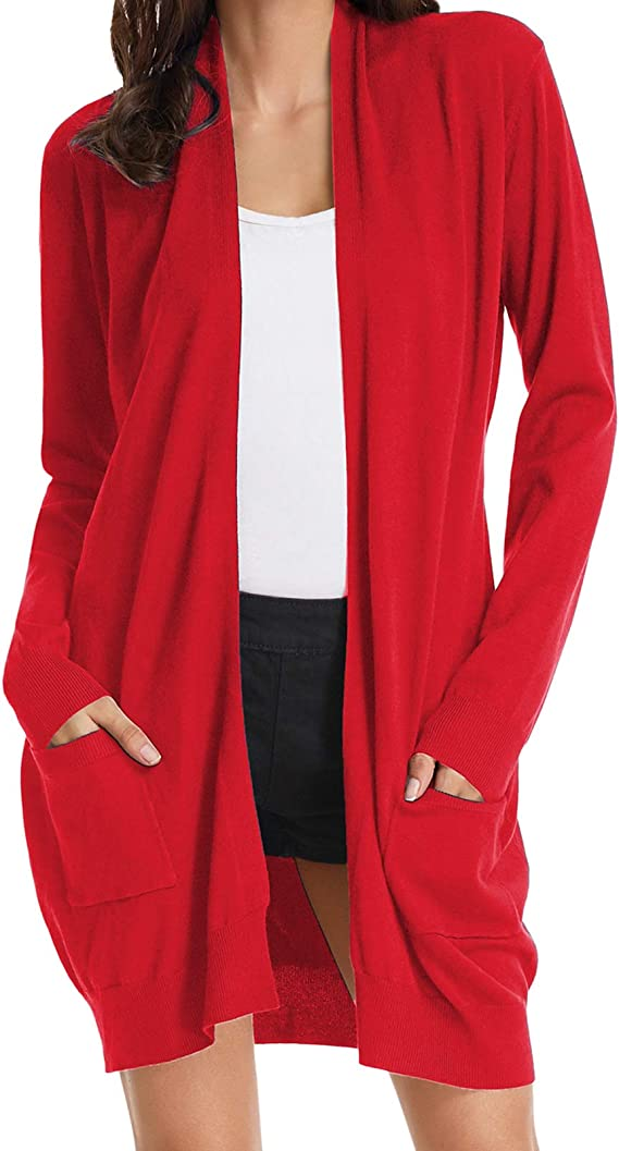GRACE KARIN Womens Solid Color Button Down Long Sleeve Striped Draped Cardigan Sweaters V-Neck Coat
