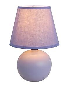 "Simple Designs Home LT2008-PRP Mini Ceramic Globe Table Lamp, 8.66"" x 5.51"" x 5.51"", Purple"