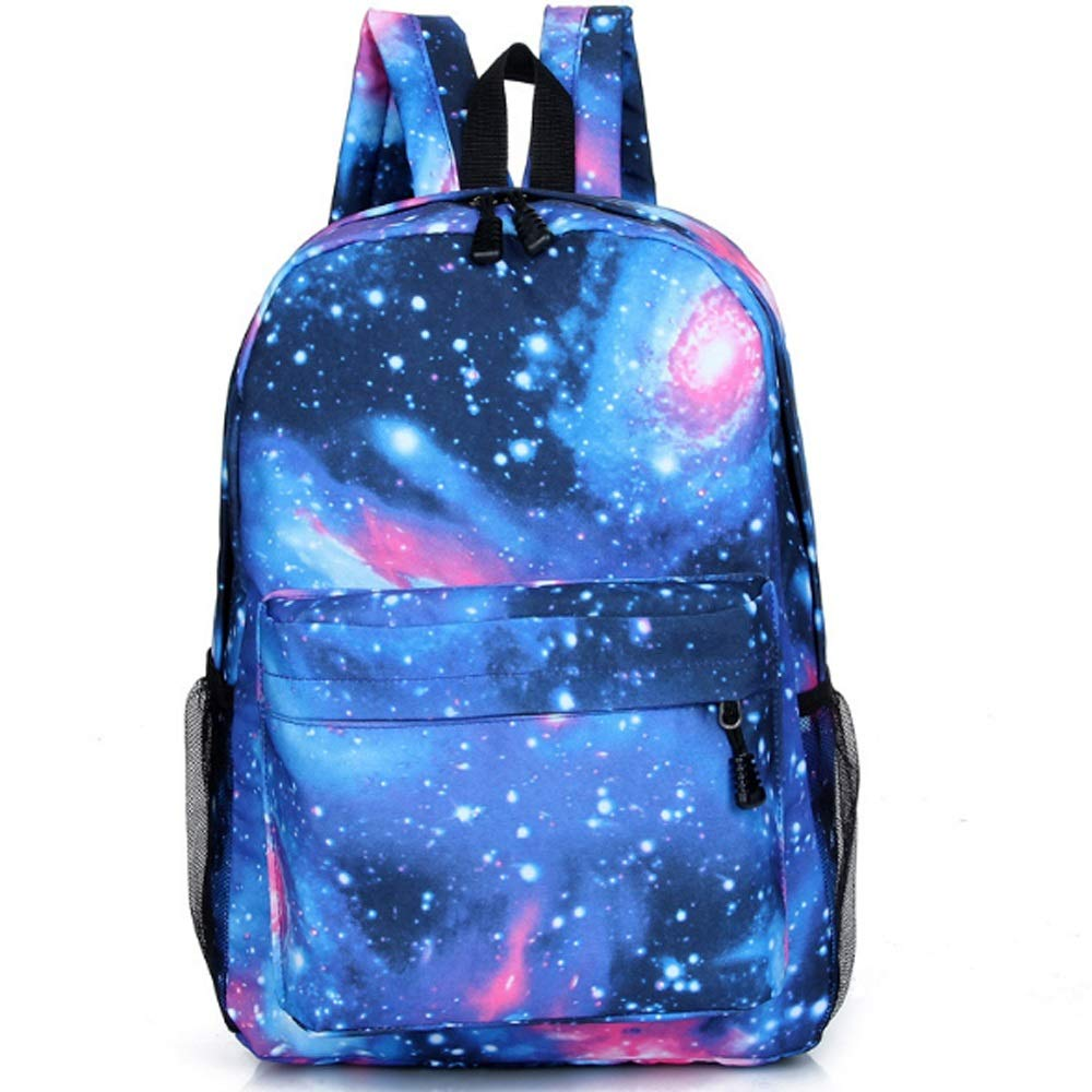 LAZNG Waterproof Canvas Backpack, Casual Boy Girl Starry Sky Rucksack Fashion Hiking Sports Ultra Light Knapsack Unisex Personalized School Bag (color   blueee, Size   44×30×13cm)